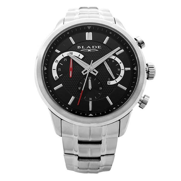 Blade Men's Black Dial Stainless Steel Chronograph Watch Cachet Black 1