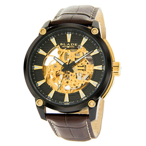 Blade men's Black dial PVD Black Plated Stainless Steel Case Brown Genuine Leather Band Skeleton Automatic Mechanical guardian marble 1