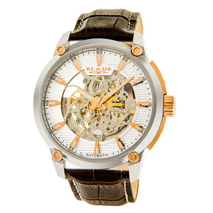 Blade men's silver dial Two Tone PVD Rose Gold Plated Stainless Steel Case Brown Genuine Leather Band Skeleton Automatic Mechanical guardian rose 1
