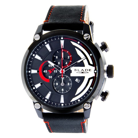 BLADE Men's Watch Stainless Steel Case Chronograph Black Strap Watch - 3555G1NNN 1