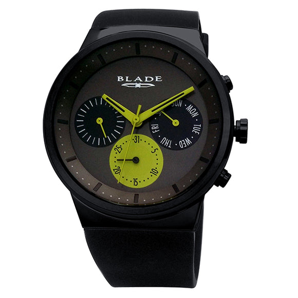 Blade men's Black dial PVD Black plated stainless steel case Black Silicon Strap multi function Indie Noir 1