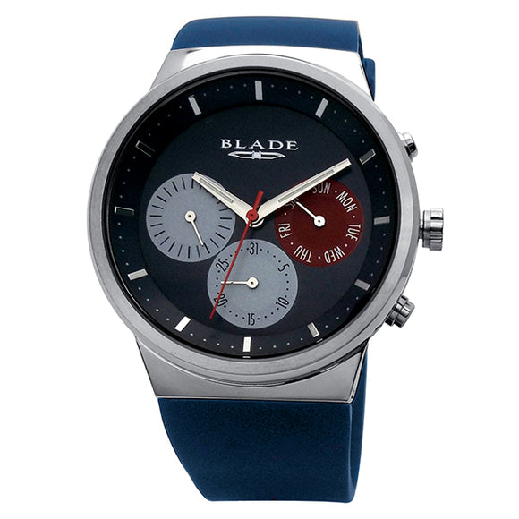 Blade men's blue dial stainless steel case Blue Silicon Strap muti function Indie Blue 1