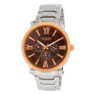 Blade men's Brown Dial Stainless Steel Case and Band PVD Rose Gold Plated Bezel Multi function Rise SS Rose 1