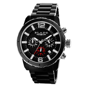 Blade Men's Black Dial Ceramic Chronograph Watch - Ceracro Black 1