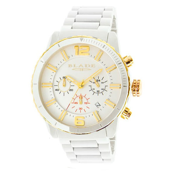 Blade Men's White Dial Ceramic Chronograph Watch - Ceracro Ivory 1