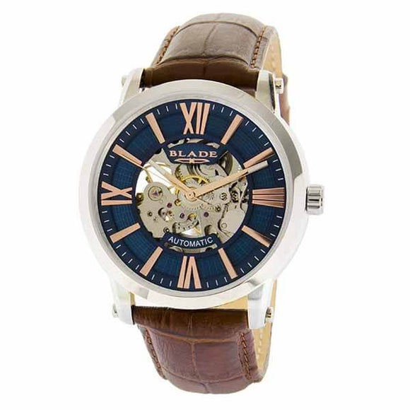 Blade men's Blue Dial Brown Genuine Leather Band Stainless steel Skeleton Automatic Mechanical Volare Blue 1
