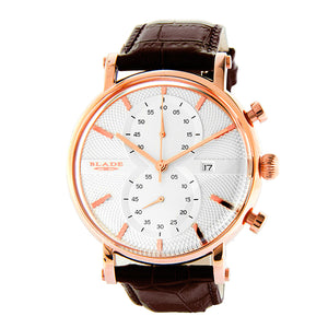 Blade Men's White Dial Rose Gold Case Brown Leather Strap Chronograph Watch Aura Rose 1