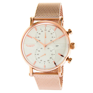 Blade Men's White Dial Rose Gold Case Milanese Mesh Band Chronograph Watch Aura SS Copper 1
