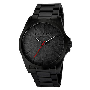 Blade Men's Black Leather Dial Black Stainless Steel Case Analog Watch Bowie SS Imprint 1