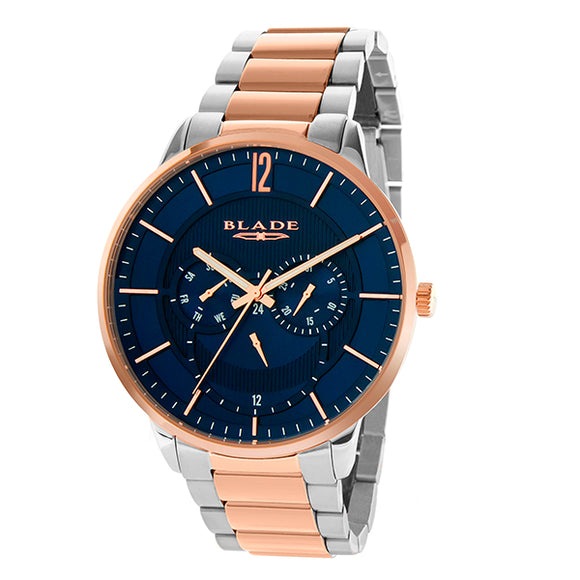 Blade men's blue dial Two-Tone PVD Rose Gold Plated Stainless Steel Case and Band multi function frost bichrome 1