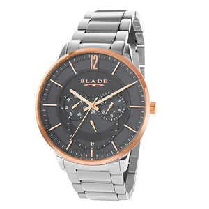 Blade men's grey dial Stainless Steel Case and Band PVD Rose Gold Plated Bezel Multi function frost rose 1
