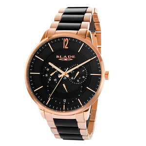 Blade men's black dial PVD Rose Gold Plated Stainless Steel Band with Ceramic Links multi function frost crimson 1