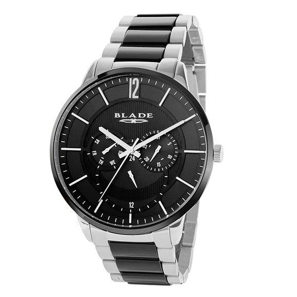 Blade men's black dial Stainless Steel Case Stainless Steel Band with Ceramic Links multi function frost mono 1