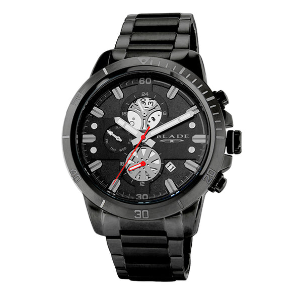 Blade men's Black Dial Black Plated Stainless Steel Case and Band Dual Time Multi function Virtuoso Imprint 1