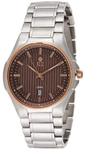 Eliz men's Brown Dial Rose Gold Plated Bezel Stainless steel Analog Watch 10-8127G-SRO 1