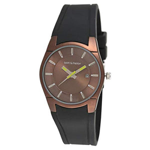Bart & Melon Women's Brown Dial and Case Black Silicon Band Analog Watch 12-DL007-ON