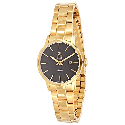 ELIZ Women's Black Dial Gold Plated Stainless Steel Watch ES25-8178L-GN 1