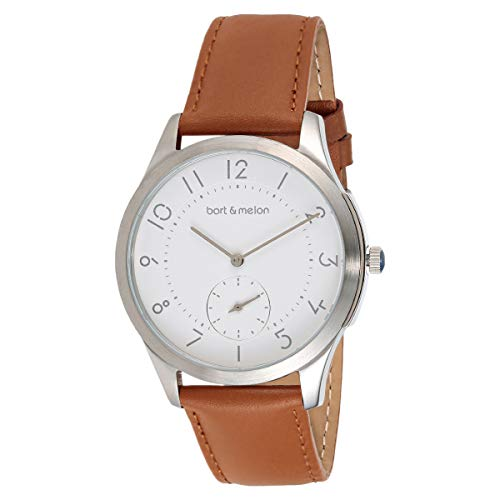 Bart & Melon Unisex White Dial Brown Leather Band Analog Watch 15-DG013-2SWO
