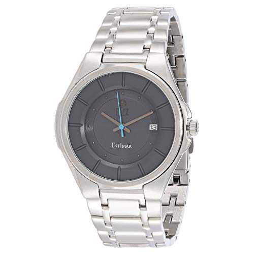 ELIZ men's Grey dial stainless steel case and band Watch ES10-8124G-SG 1