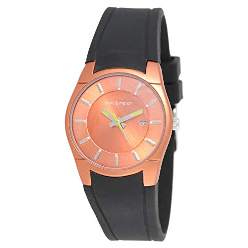Bart & Melon  Womens Orange Dial  Black Silicon Band Analog Watch 12-DL007-AN