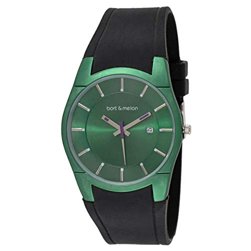 Bart & Melon Women's Green Dial and Case Black Silicon Band Analog Watch 12-DL007-GN