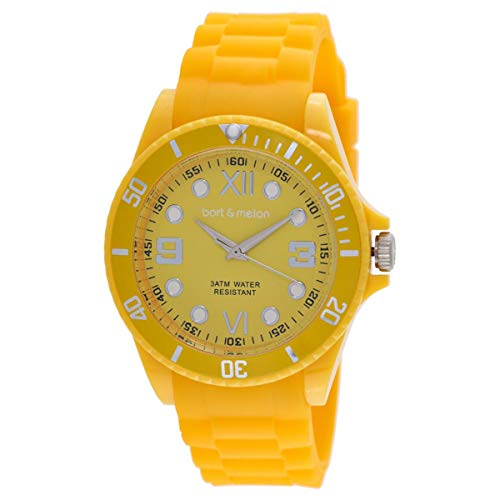 Bart & Melon Unisex Yellow Dial Polycarbonate Case  and Silicon Strap Analog Watch 11-NG002-Yellow