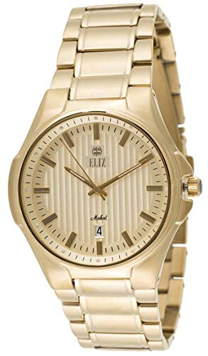 ELIZ  Men's Gold Dial Gold Plated Stainless Steel Analog Watch 20-8127G-GG 1