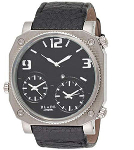 Blade Men's Multi Time Black Dial Leather Strap Watch 10-3178G-SNNw 1