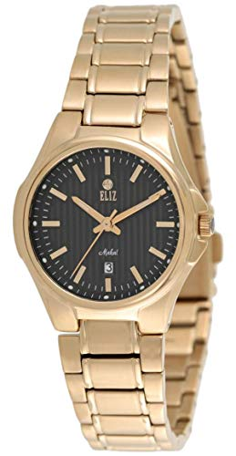 ELIZ  women's Black Dial Gold Plated stainless steel Analog Watch 25-8127L-GN 1