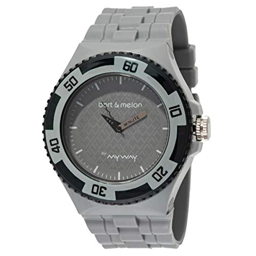 Bart & Melon Men's Grey Dial Polycarbonate Case Polyurethane Strap Analog Watch 11-NG005-Grey