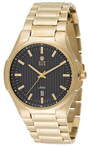 ELIZ men's Black Dial Gold Plated stainless steel Watch 20-8127G-GN 1