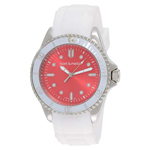 Bart & Melon Unisex Red Dial White Silicon Band Analog Watch 12-NU010-SRW