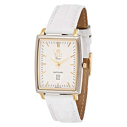 ELIZ Unisex White Leather Strap Analog Watch - ES20-7701G-TWW 1