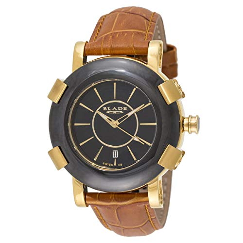 Blade Mens 21K Gold Plated Stainless Steel Case With Ceramic Bezel Brown Leather Strap Analog Watch 20-3262G-GNO 1