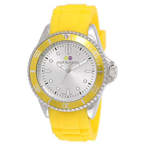 Bart & Melon Unisex White Dial Yellow Silicon Band Analog Watch 12-NU010-SWY