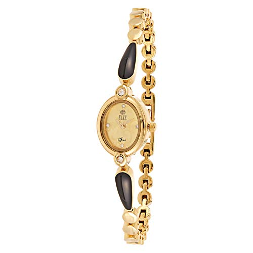 ELIZ Women's Beige Dial Gold Plated Casual Watch - ES25-8289L-GG 1