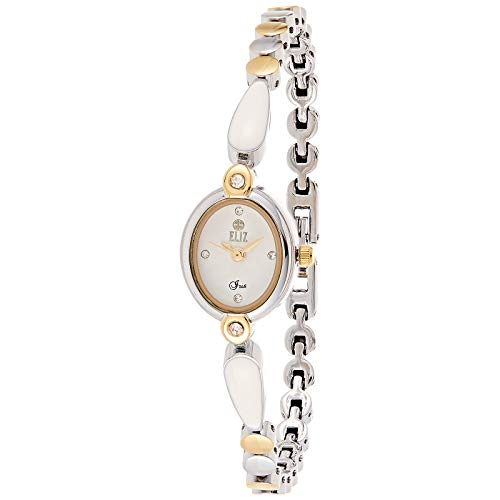 ELIZ Women's White Dial Gold Plated Casual Watch - ES25-8289L-TW 1