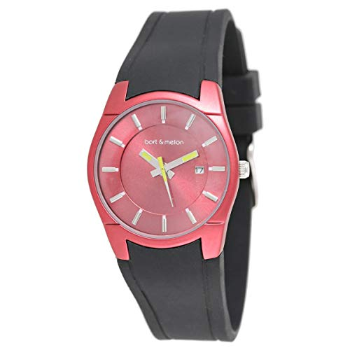 Bart & Melon Women's Red Dial and Case Black Silicon Band Analog Watch 12-DL007-RN