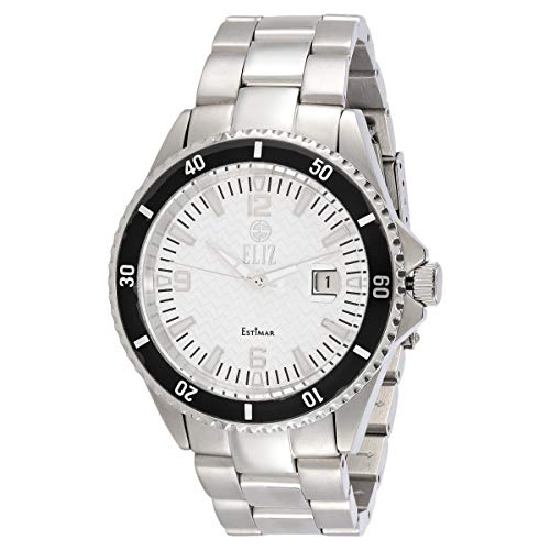 ELIZ men's White dial stainless steel case and band Automatic Movement Watch ES10-8254G-SW 1