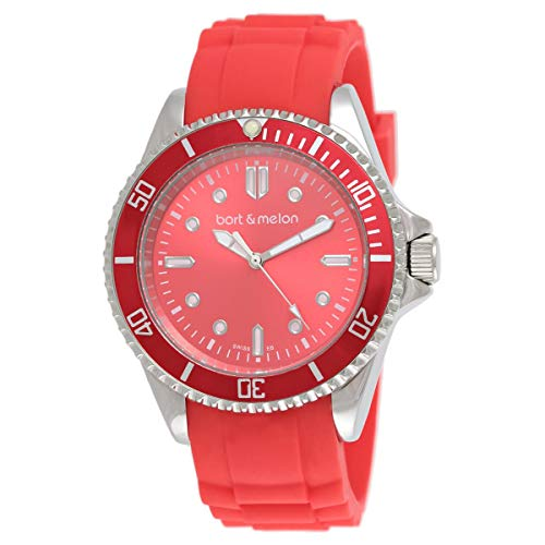 Bart & Melon Unisex Red Dial Red Silicon Band Analog Watch 12-NU010-SRR