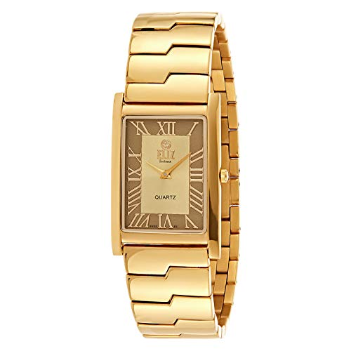 ELIZ Men's Gold Plated Stainless Steel Analog Watch - ES20-7679G-GC 1