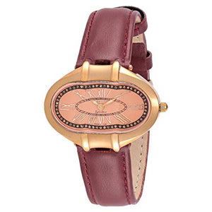 Blade Women's Pink Dial Rose Gold Case Brown Leather Strap Watch 2636LSS RRR 1
