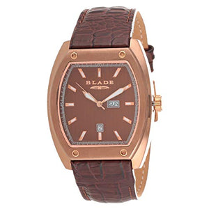 Blade Men's Brown Dial Croco Leather Strap Rose Gold Stainless Steel Case 50-3318G-ROO 1