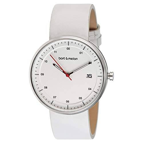 Bart & Melon Unisex White Dial White Leather Band Analog Watch 15-DG015-2SWW