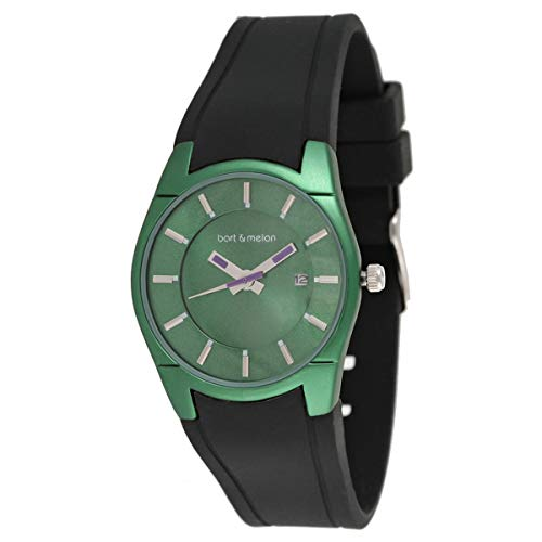 Bart & Melon Womens Green Dial and Case Black Silicon Band Analog Watch 12-DL007-GN