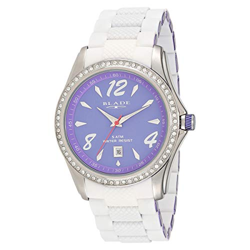 Blade Men's Violet Dial Violet & White Aluminium & Silicon Band Date Window Analog Watch 13-3161U-SVV 1