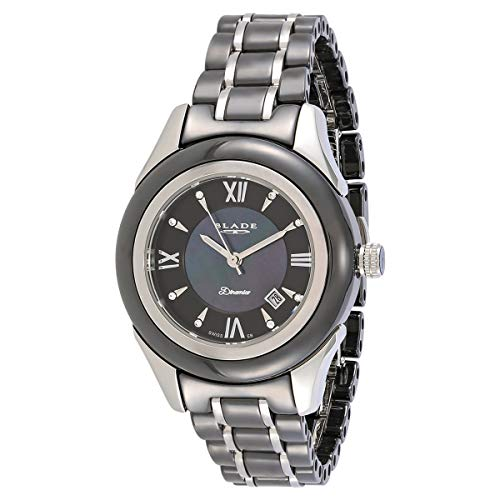 Blade Womens Black Mother of Pearl Dial- Hi-Tech Ceramic and Stainless Steel Band Watch 15-3216L-SKN 1