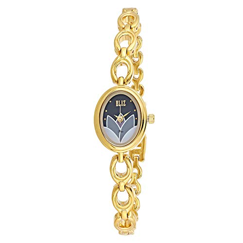ELIZ Women's Black Dial Gold Plated Casual Watch - ES25-8231L-GN 1