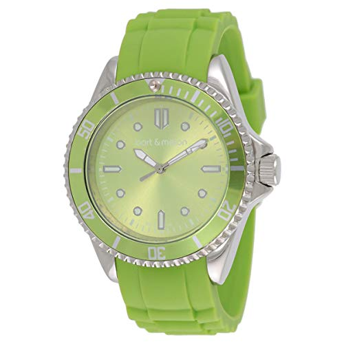 Bart & Melon Unisex Green Dial Green Silicon Band Analog Watch 12-NU010-SGG 1