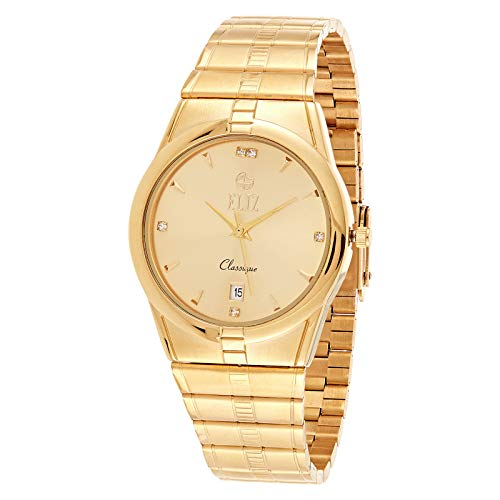 ELIZ Men's Gold Plated Metal Band Watch - ES20-8298G-GG 1